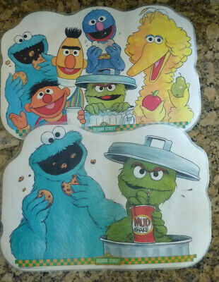 VINTAGE SESAME STREET Placemat Oscar Grouch Cookie Monster 1982