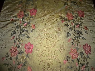 Stroheim Toscana Vine Silk Damask Brocade Fabric 10 Yards Gold Persimmons Rose
