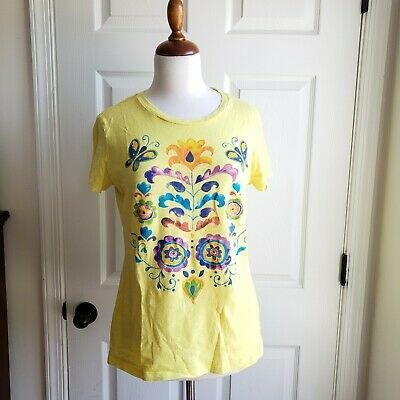 Old Navy size large yellow t-shirt floral graphic hand-painted look