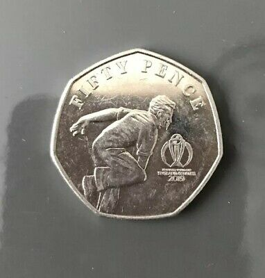 Isle of Man Official ICC Cricket 2019 World Cup 50p coin CIRCULATED (throwing)