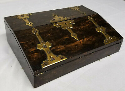 Antique Fine Writing Slope Coromandel Wood Gothic Style Stationary Box