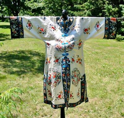 Vintage Chinese Silk White Embroidered Lady Sword Fighter Robe Jacket