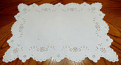 "Embroidered Doily Table Scarf White Eyelet Style 19 1/8"" L X 13 5/8"" W"