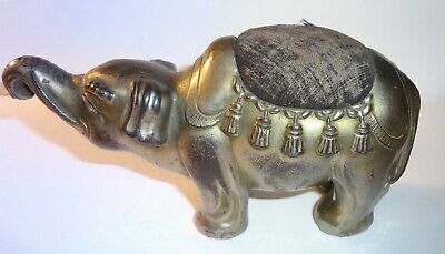 Vintage Circus Elephant Figural Metal Pin Cushion Made in Japan