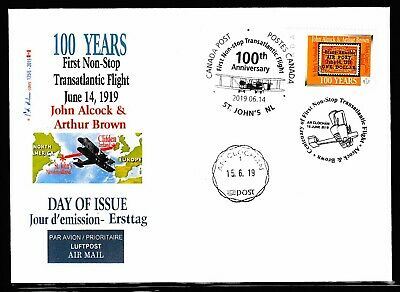 "ALCOCK Transatlantic Flight  Anniv -'P"" &  3 cancels - CDN Picture Postage FDC"