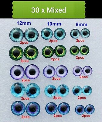 30 X Mixed Eye Glass Cabochons Cat/Dragon-Flatback/Jewellery/Gems-Eyes Cabochons