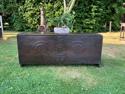 Antique 17th Century 6 Plank Oak Coffer Relief Carved Front panel