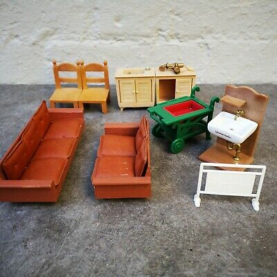 Vintage Sylvanian Families Brown Furniture Bundle washstand Epoch 1980s & others