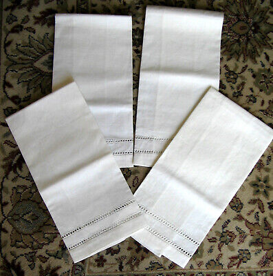 4 Vintage Linen Dish Towels Tea Towels Off White 19 x 14 No tags Never Used