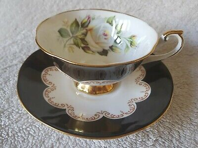 Collectable Vintage Queen's 'Ebony' Fine Bone China Teacup & Saucer White Roses