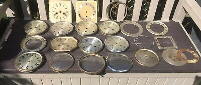 Job lot of vintage/ Antique clock Faces And Bezels for spares or repair.