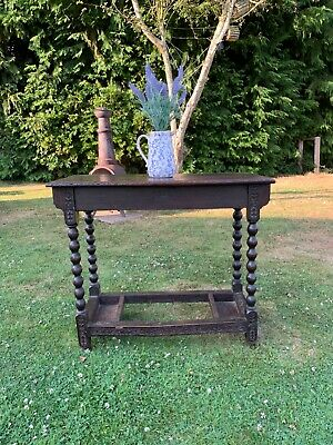 Antique carved oak English side table 17th/18th century
