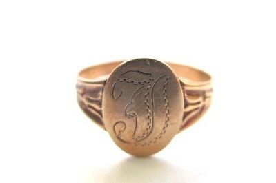 Antique Victorian 10K Gold Monogram Ring size 6.25