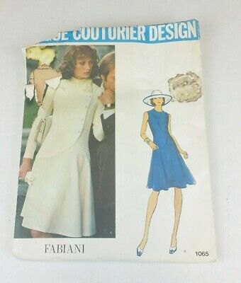 VTG Vogue Couturier Design Alberto Fabiani 1065 Sewing Pattern w tag Dress sz 16
