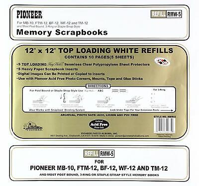 Pioneer Photo Albums 5 Refills Top Loading Page Protectors - White Inserts 12x12