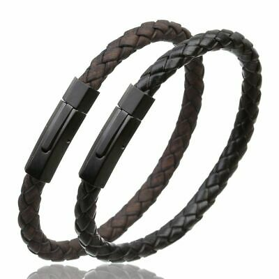 Stainless Steel Vintage Leather Bracelet With Magnetic Clasps for Men & Women
