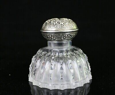 RARE Antique S. Kirk & Son Hawkes ABP Cut Glass Inkwell w/ Sterling Lid
