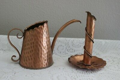 Vintage Gregorian Solid Copper Hammered Candle Holder & Watering Can ~ Marked