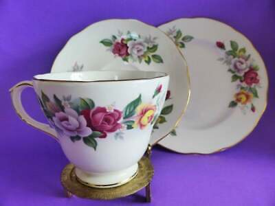 "Vintage Duchess ""Victoria"" Bone China Trio, Floral Tea Cup, Saucer & Cake Plate"