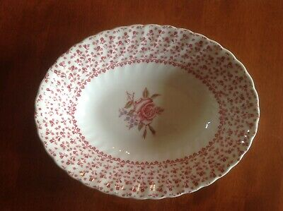 JOHNSON BROTHERS ROSE BOUQUET ENGLAND oval floral serving bowl hand engraving