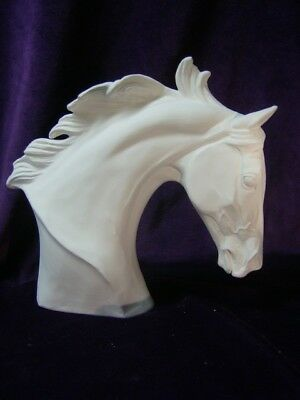Thoroughbred Horse Bust, Ceramic Bisque, Ready to Paint