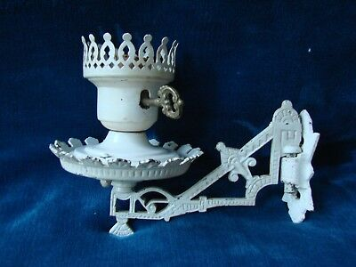 Vintage White Ornate Cast Iron Light Lamp Bracket Holder