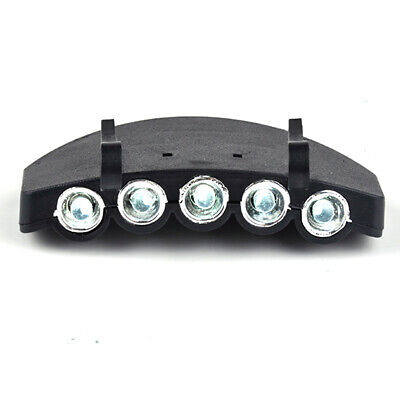 Clip On 5 LED Head Lamp Cap Hat Light Torch Fishing/Hunting/Camping/Running
