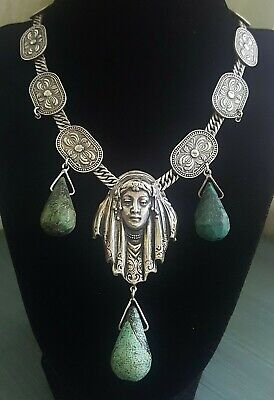 Vintage JOSEFF OF HOLLYWOOD PRINCESS Egyptian Revival Deco 925 Sterling Necklace