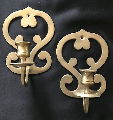 Vintage Brass  Wall Sconces Scroll Design Taper Candle Holders  Home & Garden