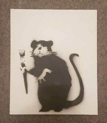 Banksy Paintbrush Rat - Dismaland Canvas Souvenir Spraypaint. Unsigned stencil