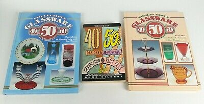 3pc Vtg Books Lot 1940's 1950's 1960's Glassware Identification Price guide