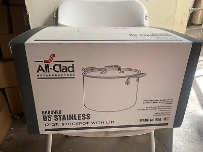 All-Clad  D5 Polished 18/10 Stainless Steel 5-Ply 12-Qt Stock Pot with Lid