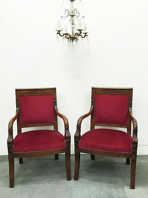 Vintage French Arm Chairs A Pair Restauration Style - v1340