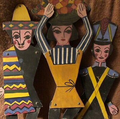 Vintage FOLK ART Marionettes Puppets Jointed MASONITE Mexican Man Woman Soldier