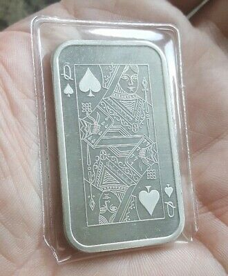 Vintage Madison Mint Queen of Spades Playing Card 1oz .999 Fine Silver Art Bar