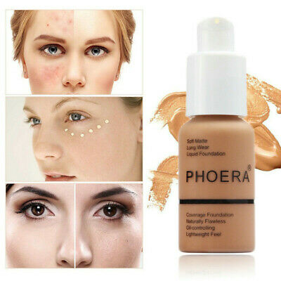 PHOERA Soft Matte Full Coverage Liquid Foundation Concealer Long Lasting Hot