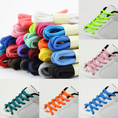 1 Pair Oval Shoelace Athletic Sport Sneaker Boots Shoe Laces Strings Pure Color
