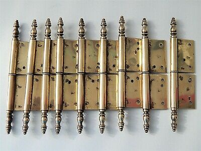 "6.1/4""  Lot of 9 Antique/Vintage French Brass Hinges,Furniture,Door,Cabinet"
