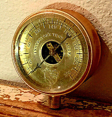 RARE: Vintage ASHCROFT Brass Pressure Gauge, Open-Center Design, Beveled Glass