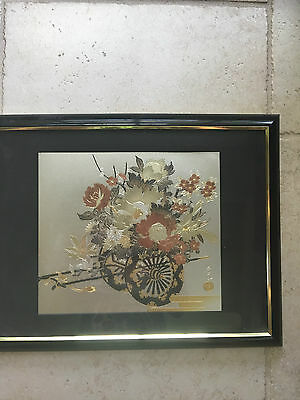 RARE VINTAGE SIGNED  ASIAN MIXED METAL ETCHING FRAMED A Signed Treasure!