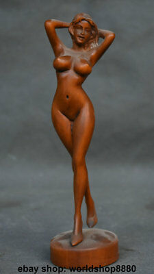 """7"""" Rare Old Chinese Boxwood Wood Hand-Carved Sexy Nude Belle Woman Art Statue"""