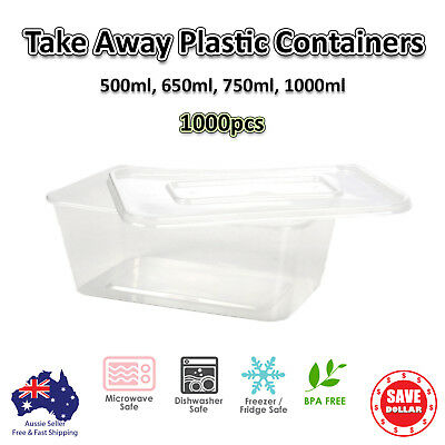 1000pcs Take Away  Containers & Lids Plastic Disposable Food 500,650,750,1000ml
