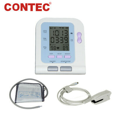 FDA CE CONTEC08C Digital Blood Pressure Monitor Arm BP Cuff+Adult SpO2 Probe+USB