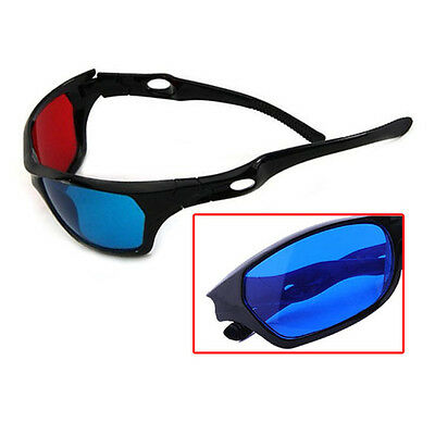 Hot Blue Red 3D Glasses Black Frame For Dimensional Anaglyph TV Movie DVD Game