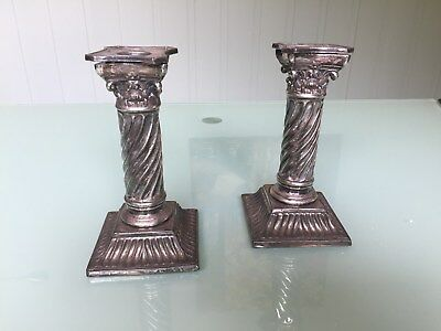 Pair of Antique Wilcox Silverplate Candlesticks Candle Holders Corinthian Column