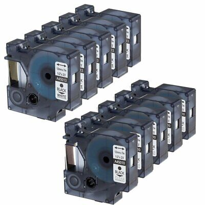 10 PK Compatible Dymo D1 45013 and 45010 12mm Black on White/Clear Label Tape.
