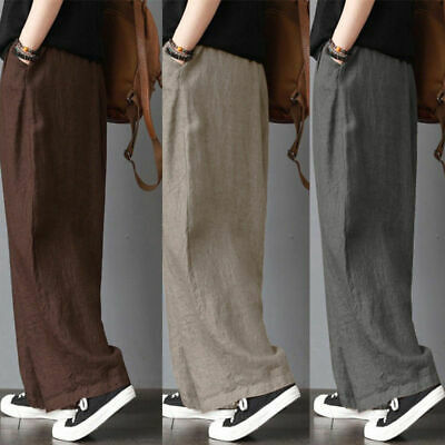 UK Men's Cotton& Linen Loose Casual Wide Leg Pants Trousers Gray/Khaki/Coffee