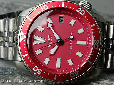 Red Stunning Mod Vintage Seiko Diver 7002-700A Automatic Men's Watch S.n: 3N0314