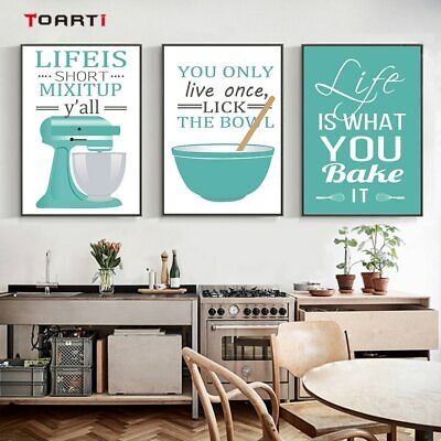 Modern Kitchen Cooking Tools Posters Prints Life Quote Canvas Wall Art Painting