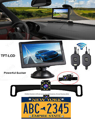 Car Rear view 5'' LCD Monitor Mirror Wireless Backup Camera Parking Reverse Kit